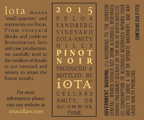 Iota Cellars Pinot Noir 2015 750ml